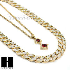 """MEN ICED OUT CUBAN LINK 30"""" CHAIN /  RICH GANG RED RUBY PENDANTNECKLACE SET S42"""