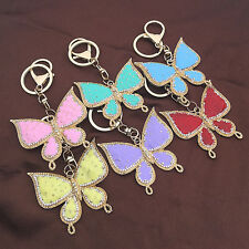 Butterfly Enamel Crystal Charm Pendant Handbag Bag Purse Keychain Key Ring