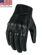 Non-Perforated Pursuit Street Stealth Leather Motorcycle Gloves Black M/L/XL NEW