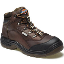 MENS DICKIES BERWICK SAFETY WORK BOOTS SIZE UK 6 - 12 STEEL TOE BROWN FA23400
