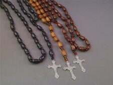 "Rosary Oval Wood Beads Silver Tone Crucifix 32"" Loop Necklace VARIOUS FINISHES!"