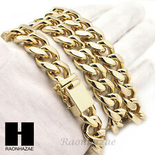"New Mens14k Gold Finish Heavy Cuban Link Chain 15mm 18mm Bracelet 9"" 30"" 36"" Set"
