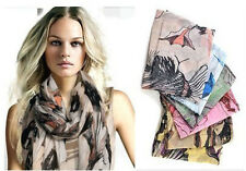 Women Begonia Flower Ink Style Neck Scarf Shawl Color Size Selectable