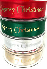 Berisfords Craft Satin Wider 25MM Merry Christmas Ribbon Gift Wrapping