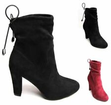Womens Ladies Fashion Mid Heels Lace Ankle Faux Suede Boots