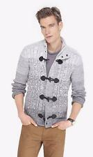 NEW MENS $150 EXPRESS GRAY OMBRE MOCK CABLE KNIT TOGGLE SWEATER CARDIGAN M L XL