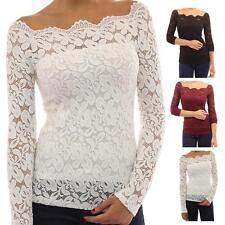 2016 Sexy Women Blouses Off Shoulder Lace Crochet Shirts Long Sleeve Casual Tops
