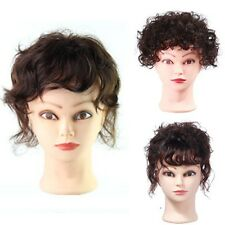 Womens Top Pieces Toupee 100% Human Hair Wavy Curly Hair Extension Natural Color
