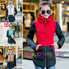 Fashion Winter Women Down Cotton Parka Long Hooded Coat Jacket outwear stitching