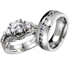 His and Hers Wedding Rings 3 pcs Engagement CZ Sterling Silver Titanium Set DH