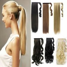 100% Thick Wrap Around Ponytail Ponytail Clip In Hair Extension as Human Hair f0