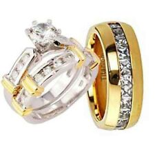 His and Hers Wedding Rings 3 pcs Engagement CZ Sterling Silver Titanium Set S