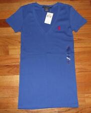 NWT NEW Polo Ralph Lauren Womens PONY LOGO V-Neck T-Shirt PERFECT TEE Blue *3T