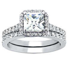 Women's Princess Cut Sterling Silver Wedding Rings Bridal Set Size 5-10