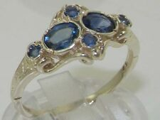 Vintage Hallmarked Solid 925 Sterling Silver Sapphire Ring FREE SIZING