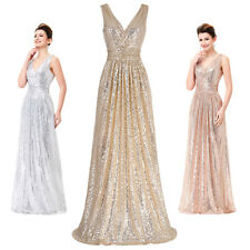 Sexy Sparkly Evening Formal Party Cocktail Ball Gown GOLD Bridesmaid Prom Dress