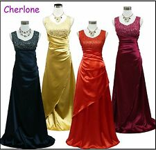 Cherlone Satin Full Length Prom Ballgown Wedding Bridesmaids Evening Dress 8-24