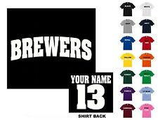 Brewers College Letters Baseball Custom T-shirt #204- Free Shipping