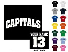 Capitals College Letters Hockey Custom T-shirt #279 - Free Shipping