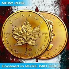 2016 Canada Silver Maple Leaf .9999 1 oz Silver Rare Encased in 24K Gold