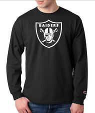 Oakland Raiders Logo Champion LONG SLEEVE T-Shirt Tagless Tee New Black