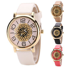 Hollow Large Number Dial Faux Leather Band Quartz Women's Wrist Watch Novelty