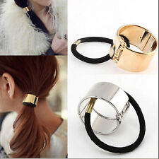 Women Hair Cuff Wrap Ponytail Metal Holder Ring Tie Elastic Hair Band RopeBeauty