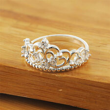 Women Lady Princess Queen Crown Rhinestone Plated Ring Wedding Lovely Ring Gift