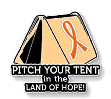 Orange Ribbon Awareness Pin Tent Many Cancer Causes Animal Abuse Melanoma Lupus