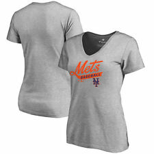 New York Mets Women's Frontsweep Slim Fit T-Shirt - Ash - MLB