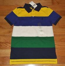 NEW NWT Polo Ralph Lauren Boys Short Sleeve Polo Shirt Blue Multi Stripe *3J