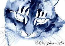 Katze Org Aquarell Zeichnung Cat Watercolor Seraphin-Art Chat Dessin 2011-11-009