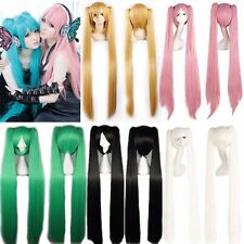 Amazing Vocaloid Miku Hatsune Cosplay Costume Wig + 2 Long Straight Ponytails AT