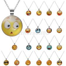 Cute Emoji Funny Mood Face Necklace Chain Fancy Jewelry Glass Cabochon Pendant