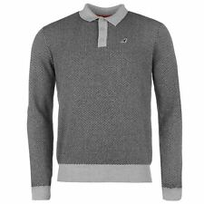 Kangol Mens Jacquard Knit Polo Shirt Ribbed Cotton Long Sleeve Collar Neck Top