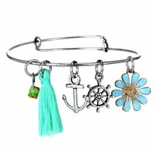 Silver Anchor Rudder Flower Tassels Glass Charms Expandable Wire Bracelet Bangle