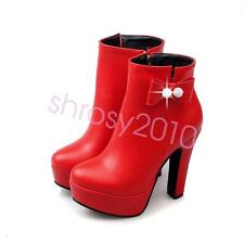 Cute Womens Ladies High Heel Ankle Boots Shoes Zip Platform Bow US Size BJZ0236