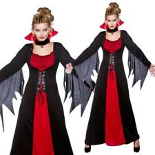 Vampiress Ladies Classic Halloween Costume Red Black Fancy Dress Outfit