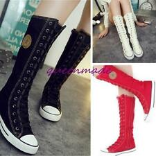 Vogue Gothic Punk Women Rock Boot Knee High Zip Laces Up Girls Shoes Sneaker Q
