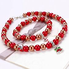 Xmas Pearl Beaded Charm Christmas Bell Tree Pendant Choker Necklace Bracelet Set