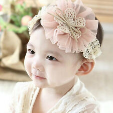 1 Pcs Toddler Headband Lovely Lace Flower Hairband 6 Colors for Baby Girls WB