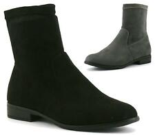 WOMENS LADIES BLOCK HEEL ANKLE BOOTS LOW FLAT CHELSEA SUEDE RIDING SHOES SIZE