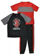 US Polo Assn Toddler Boys Red & Black Top 3pc Sweat Pant Set Size 2T 3T 4T $48