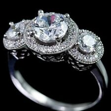 925 Sterling Silver Cubic Zirconia CZ 3 Stone Halo Bridal Engagement Band Ring