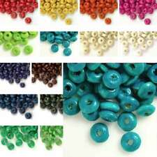 30g 810pcs Approx Wooden Wood Beads 3x6mm Rondelle Spacer Dyed Beads Findings