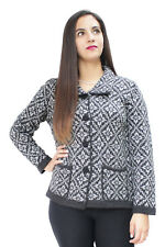 Womens Soft Alpaca Wool Four-Button Knitted Cardigan Short Coat Sweater