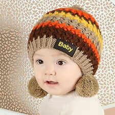 Rainbow Striped Double Ball Wool Hat Warm Hat Beanie Cap For Baby Girl Boy a