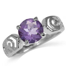 1.76ct. Natural Amethyst 925 Sterling Silver Filigree Solitaire Ring