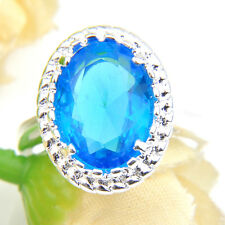 Holiday Jewelry Gift Titanic Ocean bLue Topaz Gem Silver Lady Ring US Size 7 8 9