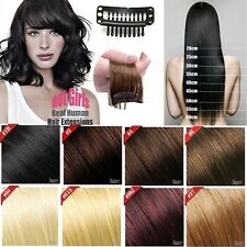 UK AAA+ Human Hair Clip In Remy Human Hair Extensions Full Head BLACK hair SC146